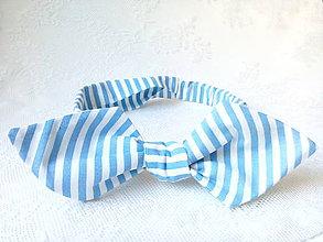 Ozdoby do vlasov - Pin Up headband on elastic (baby blue&white stripes) - 6998742_