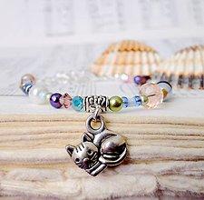 Náramky - Cat Color Bracelet / Dievčenský korálkový náramok s príveskom - 6998210_