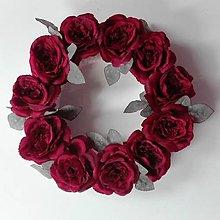 Dekorácie - Veniec na dvere Romantický červené ruže 40 cm. - 6998215_