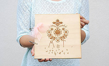 Papiernictvo - Svadobná kniha hostí drevo a folk - 6999826_