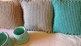 Úžitkový textil - Háčkovaný vankúš MINT - 6997589_