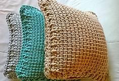 Úžitkový textil - Háčkovaný vankúš MINT - 6997590_