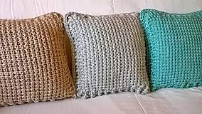 Úžitkový textil - Háčkovaný vankúš MINT - 6997592_