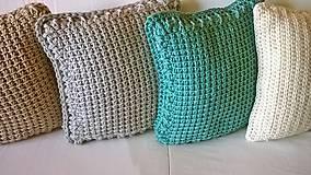 Úžitkový textil - Háčkovaný vankúš MINT - 6997593_