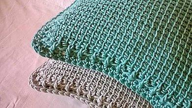 Úžitkový textil - Háčkovaný vankúš MINT - 6997591_