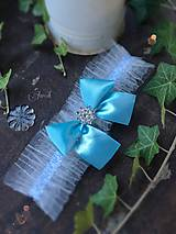 Bielizeň/Plavky - Svadobný podväzok tylový modrá mašľa - 7000202_