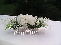 """Ozdoby do vlasov - Hrebienok do vlasov """"Biele ružičky s levanduľou"""" - 7001466_"""