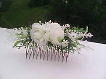 """Ozdoby do vlasov - Hrebienok do vlasov """"Biele ružičky s levanduľou"""" - 7001467_"""
