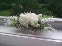 """Ozdoby do vlasov - Hrebienok do vlasov """"Biele ružičky s levanduľou"""" - 7001471_"""