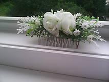 """Ozdoby do vlasov - Hrebienok do vlasov """"Biele ružičky s levanduľou"""" - 7001472_"""