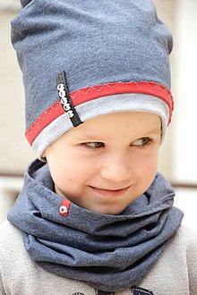 Detské súpravy - Jarný set s menom Denim & red - 7004078_