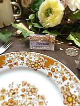 Papiernictvo - Natur svadobná menovka štvorlístok - 7002000_