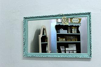 Zrkadlá - Tyrkysové vintage zrkadlo  - 7001259_