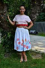 Sukne - Biela sukňa pokreslená kvetmi  - zľava  - 7001107_