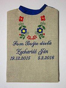 Detské oblečenie - Košieľka na krst K15 ľan, modrá výšivka, ozdobné písmo (Odoslanie do 21 dní) - 7003950_