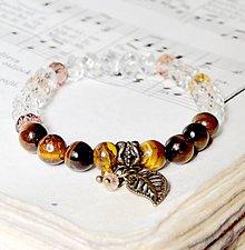 Náramky - Tiger Eye & Rondelle Bracelet (Boho Style) / Elastický náramok s tigrím okom a rondelkami v boho štýle - 7004648_