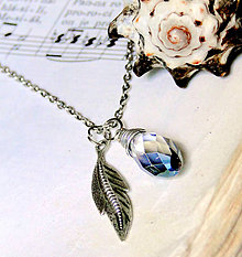 Náhrdelníky - Blue-Gray Briolette & Leaf Pendants / Prívesky 2 v 1 brioletka a list #1437 - 7005301_
