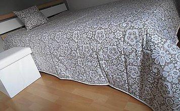 Úžitkový textil - prehoz na posteľ  180 x 200cm  - béžovo - smotanová - 7006604_