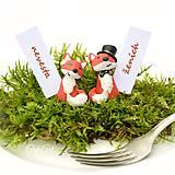 Líšky - darčeky pre svadobčanov, menovky