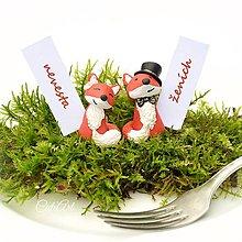 Darčeky pre svadobčanov - Líšky - darčeky pre svadobčanov, menovky - 7005669_