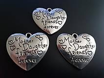 Komponenty - Prívesok srdiečko MOTHER DAUGHTER FRIENDS FOREVER - 7004206_