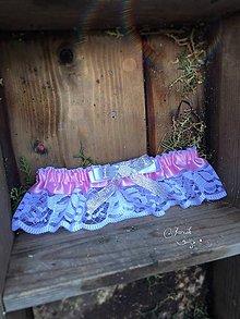 Bielizeň/Plavky - Vintage svadobný podväzok Ivory-pink - 7006733_