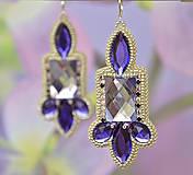 Náušnice - Vyšívané náušnice so štrasom, fialové, zľava 70% - 7004292_