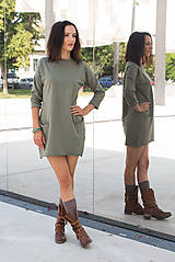 Šaty - jesenné olivové - 7006894_