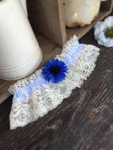 Bielizeň/Plavky - Svadobný podväzok Modrý kvet - 7008748_