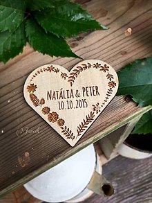 Magnetky - Svadobná magnetka Srdce veľké 7,5 cm - 7008760_