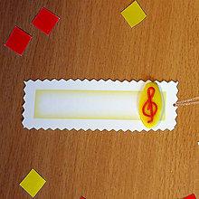 Papiernictvo - Ozdobné menovky na darček  (husľový kľúč) - 7008649_