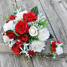 Kytice pre nevestu - Svadobná kytica pre nevestu-smotanová s vinovočervenou - 7010423_