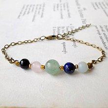 Náramky - Simple Gemstones Green Aventurine / Náramok s minerálmi v bronzovom prevedení - 7009312_