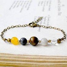 Náramky - Simple Gemstones Tiger Eye / Náramok s minerálmi v bronzovom prevedení - 7009324_