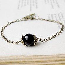 Náramky - Simple Gemstones Black Agate / Náramok s čiernym achátom v bronzovom prevedení - 7009338_