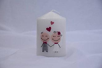 Svietidlá a sviečky - svadobná sviečka veselá - 7009563_
