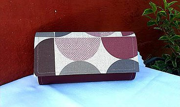 Peňaženky - Retro peňaženka na 12 kariet,koženka+bavlna - 7009014_
