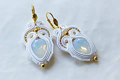 Náušnice - Svadobné náušnice s opálovým kryštálom - 7009775_