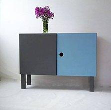 Nábytok - Skrinka/botník modrá-šedá - 7010788_