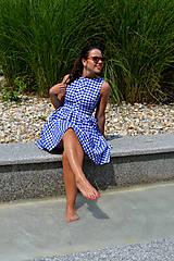 - Gingham veselé šaty v modrej  - 7009472_
