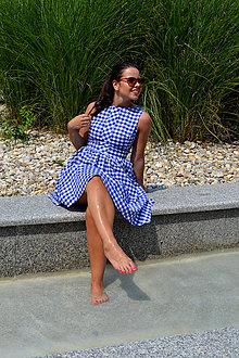 Šaty - Gingham veselé šaty v modrej  - 7009472_