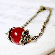 Náramky - Simple Gemstones Red Jade / Náramok s červeným jadeitom v bronzovom prevedení - 7011206_