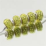 Korálky - Strieborná AG925 korálka na PANDORA náramok - SKLO MURANO žlto zelená perleť - 7012770_