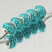 Korálky - Strieborná AG925 korálka na PANDORA náramok - SKLO MURANO tyrkysová perleť - 7012771_