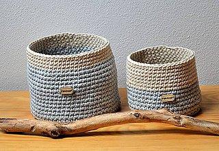 Košíky - Bavlnený háčkovaný košík-sada dvoch košíkov - 7012840_