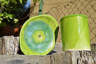 Nádoby - mydelnička zelená II a pohárik na zubné kefky - 7011763_