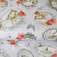Textil - Santoro La Vie en Rose, bavlnená látka, 110 x 60 cm - 7012768_