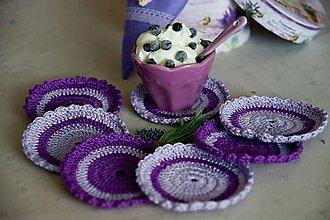 Úžitkový textil - Levanduľovo fialové podšálky - 7011423_