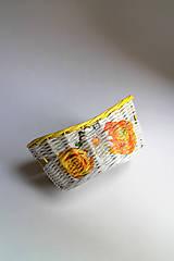 Košíky - Košík papierový - Žlté ruže | malý biely - 7013044_