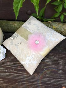 Prstene - Svadobný vankúšik Cappuccino, ružový kvet - 7014100_